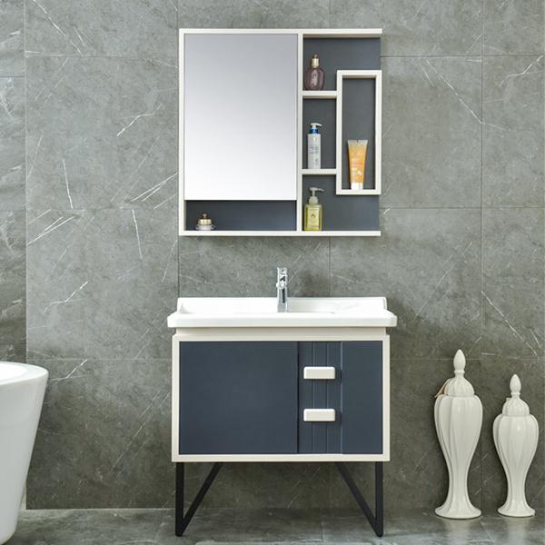 Floor PVC Bathroom Vanity Mirror Cabinet Model No.AM-2511-1