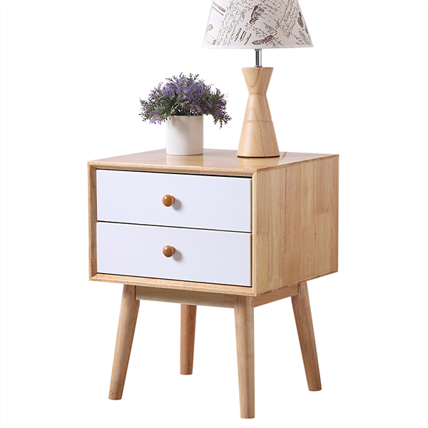 Wood bedside table with two drawers
