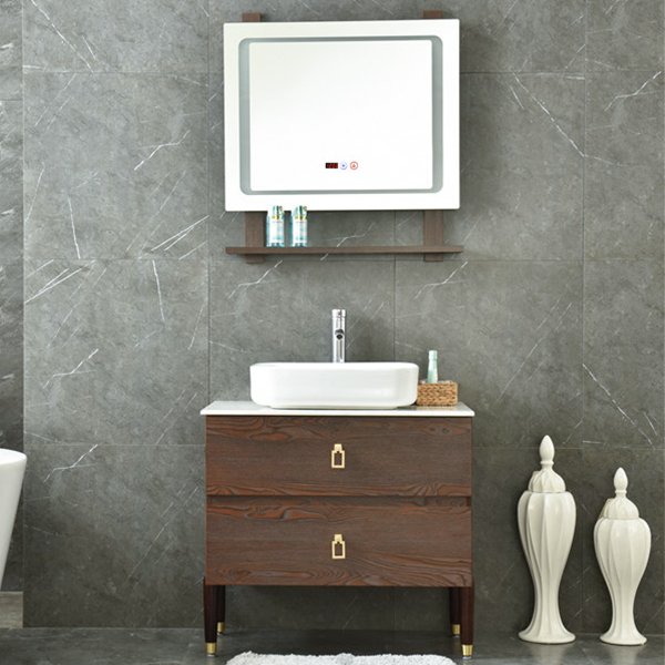 MDF Classical Bathroom Mirror Cabinet With Light AM-6046